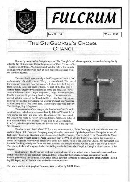 Front page of The Fulcrum, the newsletter of the Japanese Labour Camp Survivors' Association, in which Bernard first saw the story about Harry making the cross.